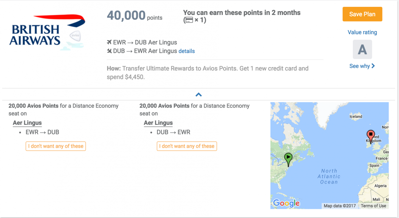 RewardStock travel goal to go to Ireland using points
