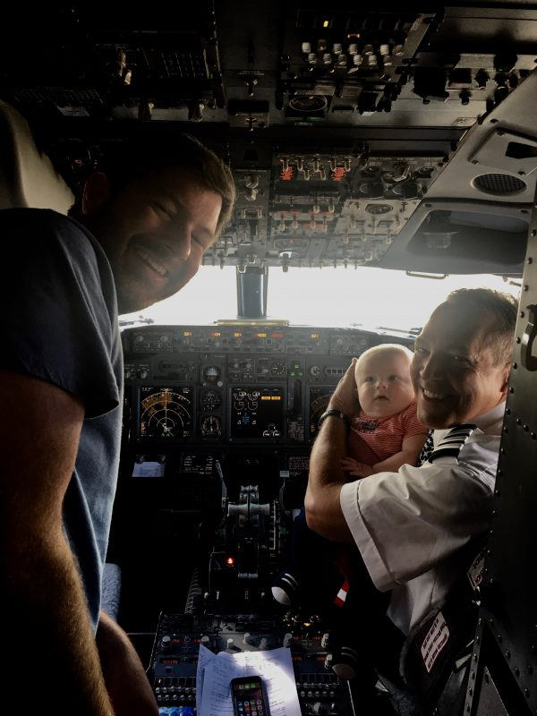 Baby's first flight meeting the pilot