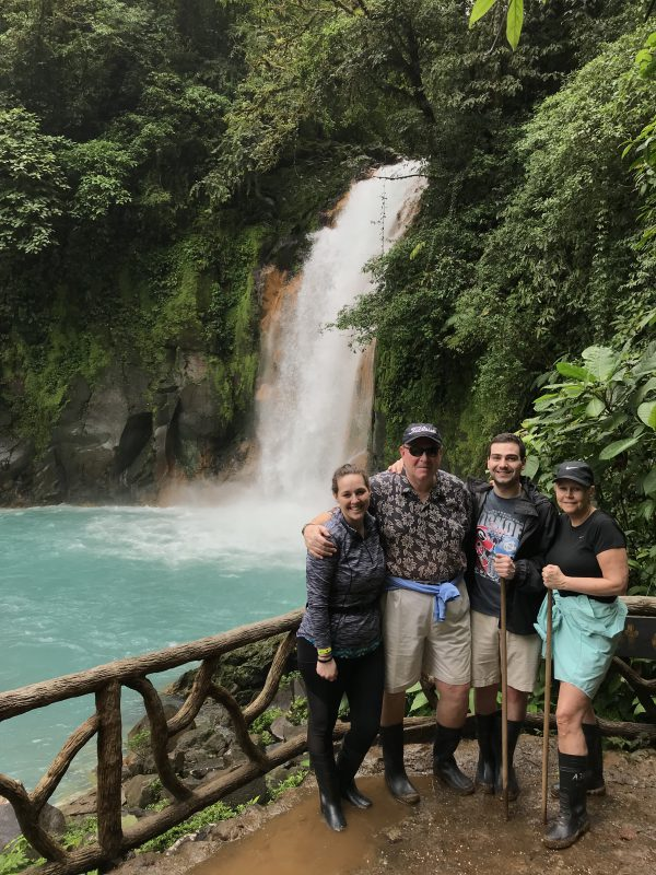 Family hike to waterfall in Costa Rica